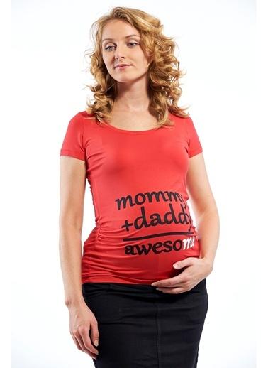 Bisiklet Yaka Baskılı Tişört-Motherway Maternity